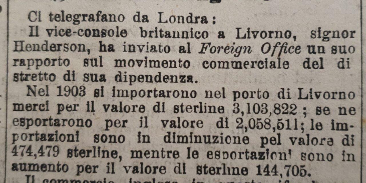 8 luglio 1904: Le Acque della Salute consigliate ai grandi commercianti londinesi dall'allora vice-console britannico a Livorno Henderson